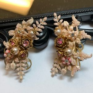 Jewelry - Vintage Pink Floral Clip On Ear Climber Earrings